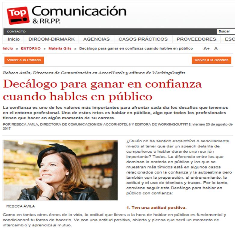 Top Comunicación / Decálogo para ganar en confianza cuando hables en público