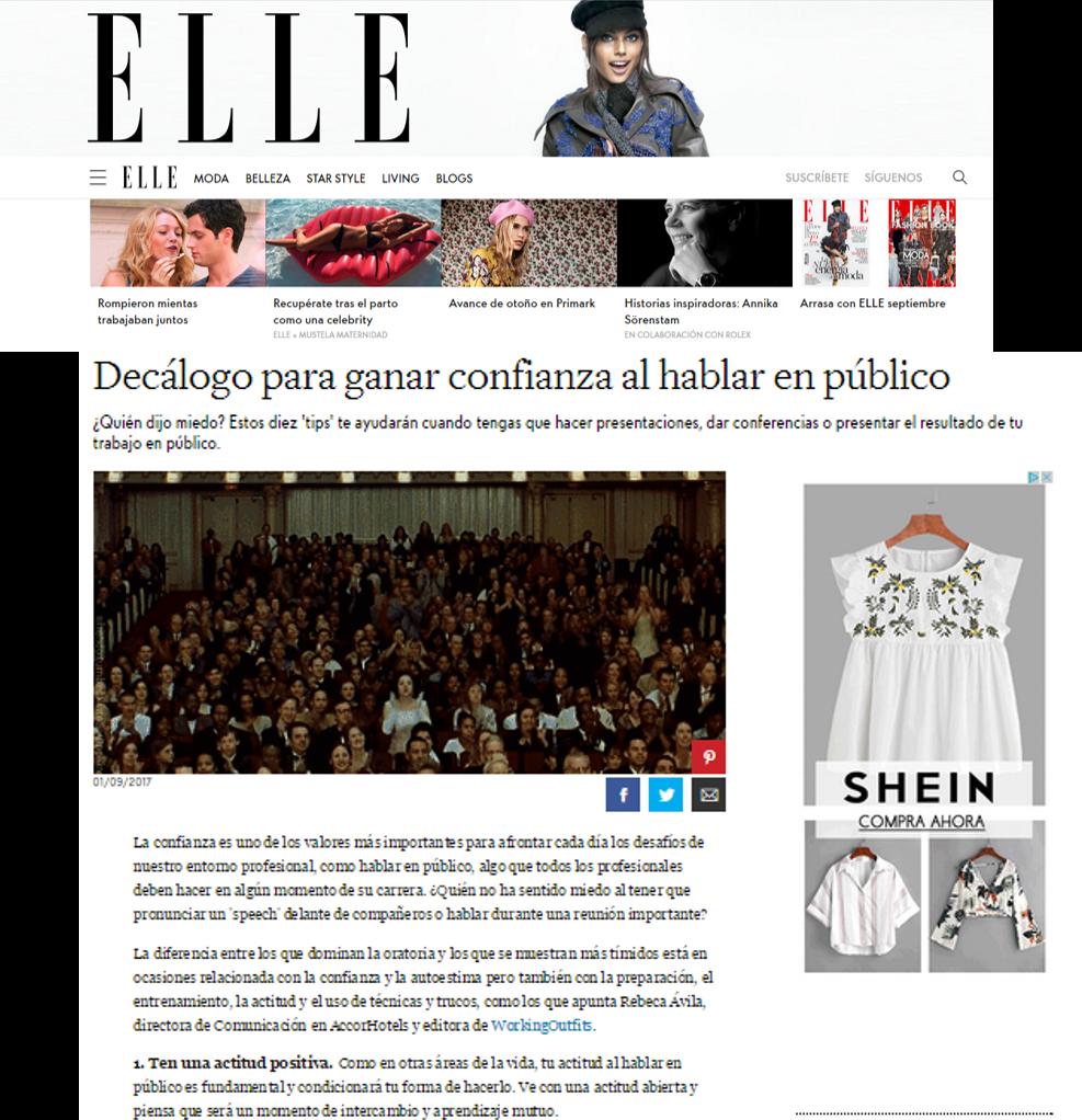 Elle/Decálogo para ganar confianza en público
